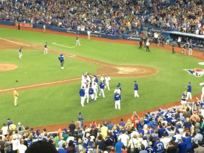 Jays walk off on 12th inning wild pitch